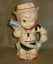 HTF Vintage 1950s Alladin USA HARD Plastic Cowboy Sheriff Pitcher IN WHITE