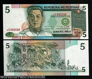 PHILIPPINES 5 PESOS P180 1995 * REPLACEMENT CANNON UNC FILIPINO MONEY BANK NOTE