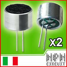 2X Capsula Microfonica pre amplificata omnidirezionale a condensatore (2 Pezzi)