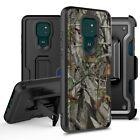For Motorola Moto G Play 2021 Card Slot Holster Case w/ Temper Glass & Kickstand