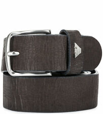 Armani Jeans Mens Brown/Grey Leather Belt with Aging Effect All Sizes