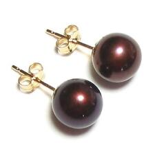 7.5-8mm AAA Genuine Chocolate Pearl Earring Studs in 14K Yellow Gold