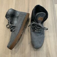 Toms Women's 7.5 Shoes Chukka Ankle Boots Gray Wool Plaid Booties
