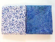 (2) 1/2 Yd pieces of 100% Cotton Fabric - Boundless Rain Batik/Ditsy Blue Floral