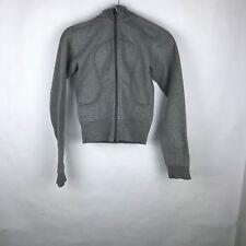 Lululemon Size 6 Gray Scuba Hoodie Logo Full Zip Woman Remix Jacket