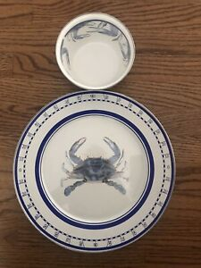 "Golden Rabbit Nautical Blue Crab 12.5"" Enamelware Charger & Bowl Chip & Dip"