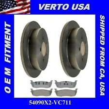 Set Of 2 Rear Brake Rotors & Pads - 54090X2-VC711 Fit Ford , Lincoln, 5 lugs
