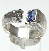 Vintage Silber Ring Kordes & Lichtenfels 925 punz. Saphir & Bergkristall RG 60