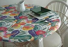"""Fitted Elastic Edge Vinyl Tablecloth Table Cover 36"""" to 48"""" Garden Vegetables"""