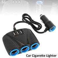 3Way Car Cigarette Lighter Socket Splitter Dual USB Charger Power Adapter 12/24V
