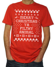 Merry Christmas Ya Filthy Animal Ugly Sweater New Funny Mens 2017 Red T Shirt