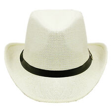 Silver Fever Fashionable Woman Cowboy Hat with Black Ribbon - White