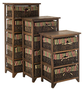 WICKER BASKET STORAGE UNIT CHIC BEDSIDE TABLE CABINET CHEST DRAWERS MAIZE TABLE