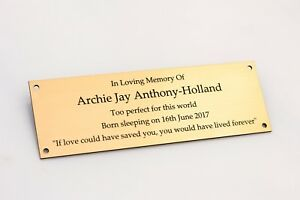 Engraved Bench Plaque With Black Engraving Weatherproof Brass Effect / Silver