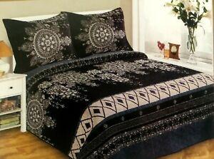 3pc Queen Size Velvet Quilt Bedspread Coverlet - Reversible, Lightweight.