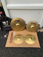 "Free P&P. Set of Paiste Cymbals 20"" Ride 16"" Crash 14"" Hi Hats. Case Sticks Inc"