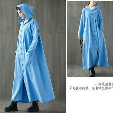 Womens Long Sleeves Cotton Blend Cape Hooded Long Cloak Trench Coat Retro Solid