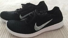 Nike Free Run Womens Flyknit Running Shoes / Trainers, Black And White, Size 7