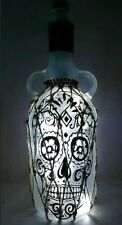 Skull Kraken Rum Bottle Lamp Upcycled with white  LED Lights