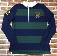 Girl Scouts Blue Green Rugby Stripe Long-Slv Polo Shirt Jrs Teen Medium 7/8 9/10
