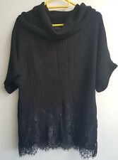 Laura Ashley lace trim black cowl neck jumper size 12 BNWT