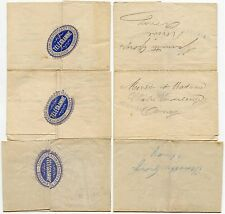 BELGIUM TELEGRAMS 1889-91 + WAFER SEALS...3 ITEMS