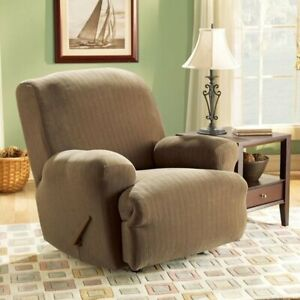 Sure Fit Stretch Pinstripe 1-Piece - Recliner Slipcover - taupe