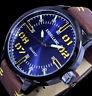 Excellanc  Herren Armband Uhr Blau Schwarz Gelb Braun