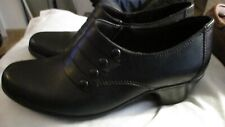 EUC! Clarks Women's INGALLS FALLS 66741 Leather Booties Black SLIP ON SHOES 6.5M