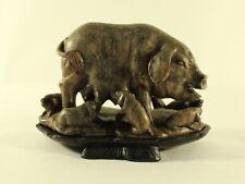 Vintage Asian Carved Stone Pig Boar Hog Piglets Sculpture signed Art Numbered