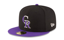 Era 59fifty MLB Onfield Colorado Rockies Black Purple Fitted Cap Silver 3d 7 1/4