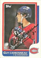 1986-87 Topps Signed Guy Carbonneau Montreal Canadiens Hockey Card #176