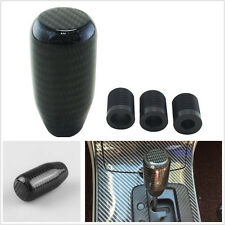 100% Real Carbon Fiber Manual Vehicle Straight Gear Shift Knob Shifter Kit Black