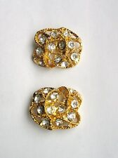 """1980 Rare Shape French Gold Plated Large Button With Crystal Stones 1.1/2"""""""