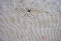 Ralph Lauren Mint Green White Striped 100% Linen Long Sleeve Button Up Shirt L