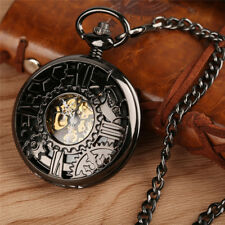 Vintage Retro Hollow Gear Necklace Hand Winding Mechanical Pocket Watch Gift