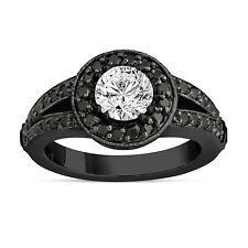 White & Enhanced Fancy Black Diamonds Engagement Ring 1.56 Carat 14K Black Gold