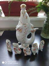 Rare 70s USSR Soviet Porcelain-Figurine Decanter Fish With 5 Kids Glasses Gift