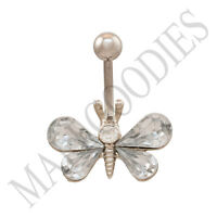 B118 Clear Butterfly Gem Crystal Cubic Zirconia Stone Belly Navel Ring Sur Steel