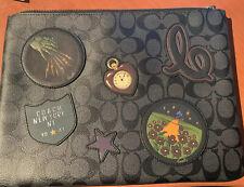 "Coach ""Wizard of OZ"" Black Zip  Travel Bag I Pad Case Tablet F39702 Mint Limited"