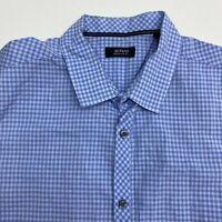 Alfani Button Up Shirt Men's XXL Short Sleeve Blue Checkered Regular Fit Casual