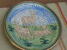 """Deruta Italy Mosaic Pottery Sheep Decorative Plate 8"""" Mario Sambuco Italian"""