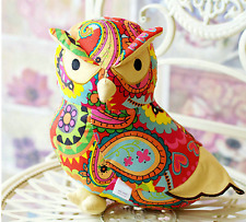 CUSHION OWL LUMBER SLEEPING TOY SOFT SUEDE COLOURFUL 24CMX24CM QUALITY PATCHWORK