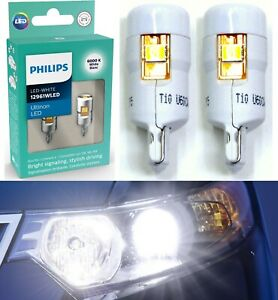 Philips Ultinon LED Light 12961 194 White Two Bulb Front Side Marker Lamp OE Fit