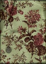 """""""Seville"""" Print rose brown off white on sage Fabric by Whistler Studios -Windham"""
