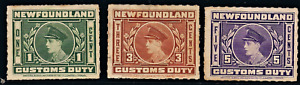 CANADA NEWFOUNDLAND CUSTOMS DUTY SET OF 3 STAMPS, ROULETTED  F/VF  (152)