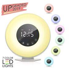 Sunrise Alarm Clock Wake Up Light 6 Nature Sounds FM Radio Natural 7 Colors LED
