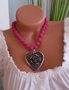 K&K Kunstduo Trachten-Halskette Herz silberfarben pink Trachtenschmuck Kette