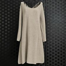 Calypso St Barth 100% Cashmere Ribbed Knit Sweater Dress Tunic Natural Beige L