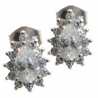 Damen Ohrstecker echt Silber 925 Sterling rhodiniert mit Zirkonia weiß Ohrringe